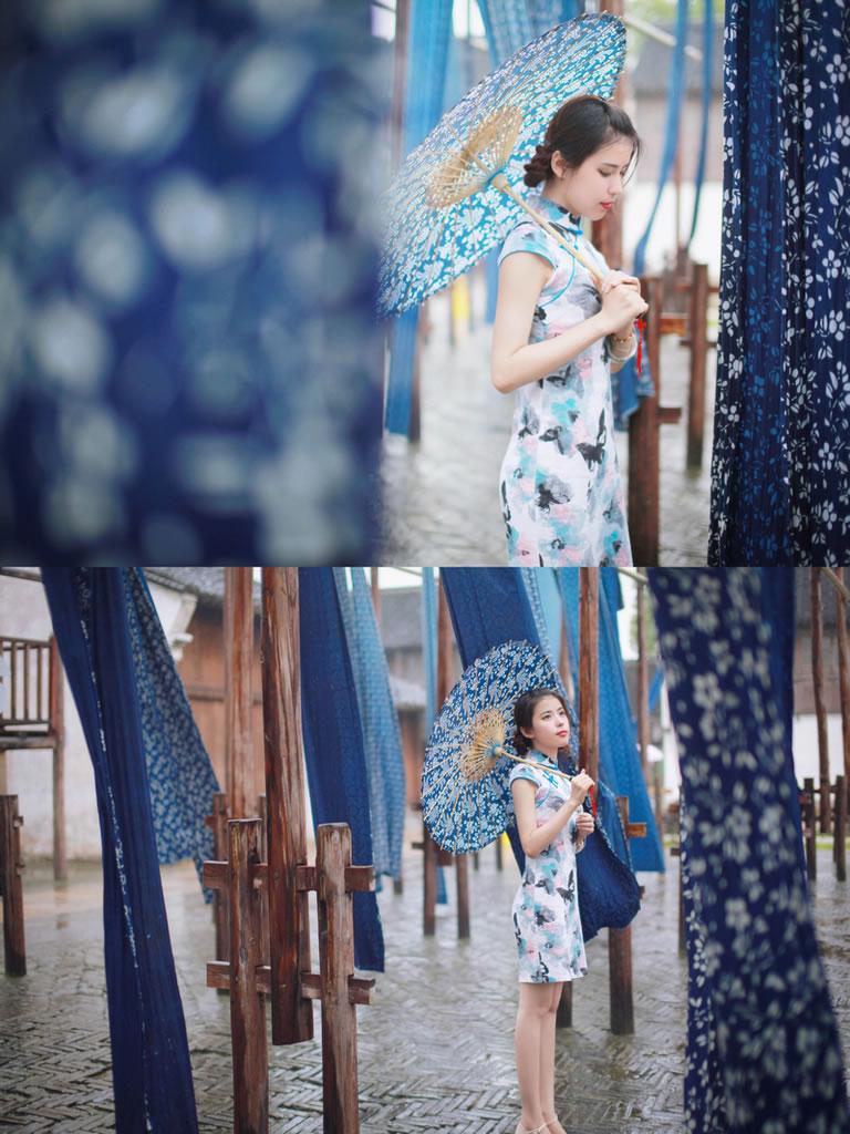 古镇、旗袍、油纸伞;人像摄影作品《乌镇游之:年华似水》